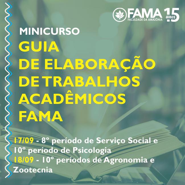 """Estudantes da FAMA terão minicurso """"Guia de Elaboração de Trabalhos Acadêmicos"""""""